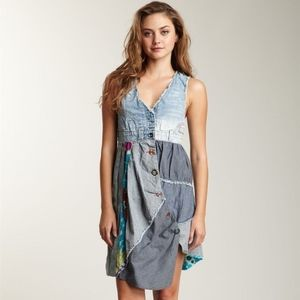 Desigual Circolor Denim Paneled Patchwork Dress